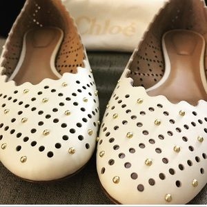 NWT Chloe white leather ballet flat with gold